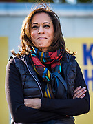 12 OCTOBER 2019 - DES MOINES, IOWA: Senator KAMALA HARRIS (D-CA) at a Des Moines block party Saturday. Sen. Harris attended a neighborhood block party in Des Moines as a part of her campaign to be the Democratic nominee for the US presidency in 2020. Iowa traditionally holds the first selection of the presidential election cycle. The Iowa caucuses are Feb. 3, 2020.        PHOTO BY JACK KURTZ