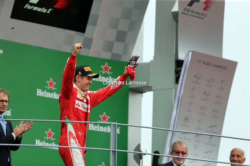 &copy; Photo4 / LaPresse<br /> 04/09/2016 Monza, Italy<br /> Sport <br /> Grand Prix Formula One Italia 2016<br /> In the pic: 3rd position Sebastian Vettel (GER) Scuderia Ferrari SF16-H