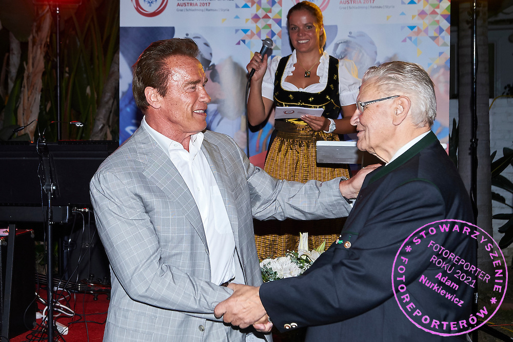 (L) Arnold Schwarzenegger Special Olympics Austria Honorary President and (R) Hermann Kroell while Austria 2017 Reception during third day of the Special Olympics World Games Los Angeles 2015 on July 27, 2015 in Los Angeles, USA.<br /> USA, Los Angeles, July 27, 2015<br /> <br /> Picture also available in RAW (NEF) or TIFF format on special request.<br /> <br /> For editorial use only. Any commercial or promotional use requires permission.<br /> <br /> Adam Nurkiewicz declares that he has no rights to the image of people at the photographs of his authorship.<br /> <br /> Mandatory credit:<br /> Photo by &copy; Adam Nurkiewicz / Mediasport