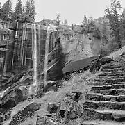 Vernal Falls Mist Trail - Autumn - Yosemite - Black & White