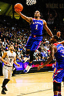 December 7th, 2013:  Kansas Jayhawks freshman guard Wayne Selden, Jr. (1) finger rolls a shot up in the first half of the NCAA Basketball game between the Kansas Jayhawks and the University of Colorado Buffaloes at the Coors Events Center in Boulder, Colorado
