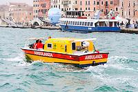 Italy, Venice. Ambulance boat