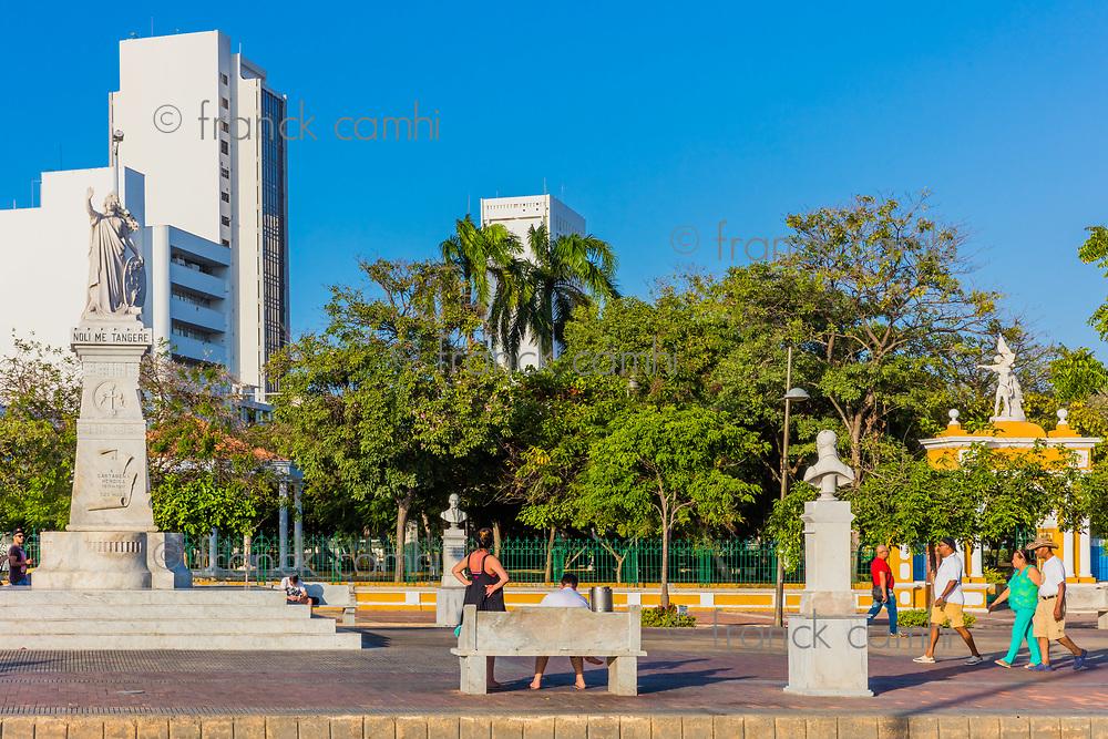 Cartagena , Colombia  - March 5, 2017 : people in front of Parque del Centenario of Cartagena de los indias Bolivar in Colombia South America