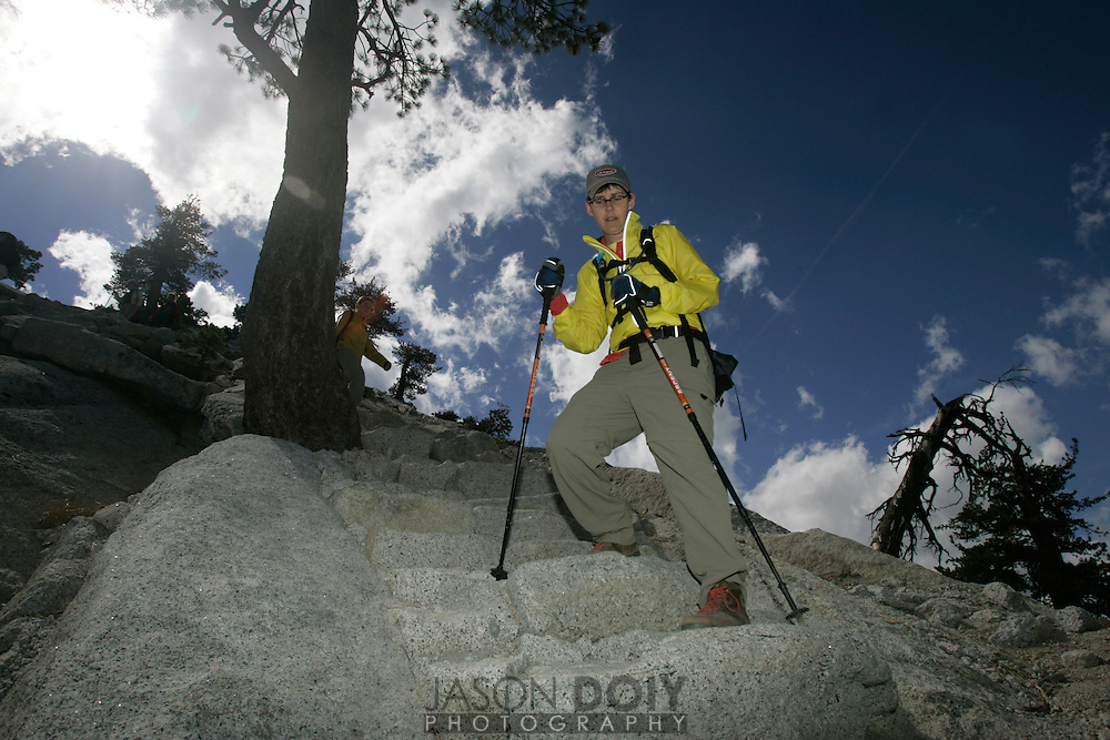 Deb Mosley on the trail during a 20 mile, 12 hour climb to the top of Half Dome on September 10. The climb raised money for five local breast cancer organizations...photo by Jason Doiy.9-15-05.037-2005