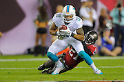 Miami Dolphins wide receiver Rishard Matthews (18) is tackled by Tampa Bay Buccaneers defensive back Michael Adams (21) during the Bucs 22-19 win at Raymond James Stadium on Nov. 11, 2013 in Tampa, Florida. <br /> <br /> &copy; 2013 Scott A. Miller