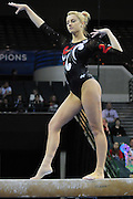 University of Utah freshman Mary Beth Lofgren during her balance beam routine at the 2011 Women's NCAA Gymnastics Championship Individual Event Finals on April 17, in Cleveland, OH. Lofgren tied for fifth. (photo/Jason Miller)