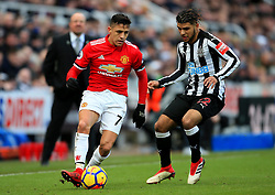 Alexis Sanchez of Manchester United and DeAndre Yedlin of Newcastle United - Mandatory by-line: Matt McNulty/JMP - 11/02/2018 - FOOTBALL - St James Park - Newcastle upon Tyne, England - Newcastle United v Manchester United - Premier League