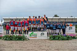 Team Netherlands, Bocken Emma, Vos thijmen, Dolfijn Jorinde, Boerenkamp Finn, de Boer Wesley, <br /> Team Germany, Bleicher Tiara, Thillmann Test Leni, Tietje Romy Rosalie, Roth Milka, Herold Kiera-Malin <br /> Team England, Kyle Tabitha, Gachoud Amelie, Lemieux Cloe, Jones , Farman Phoebe<br /> European Jumping Championship Children<br /> Zuidwolde 2019<br /> © Hippo Foto - Dirk Caremans<br /> Team Netherlands, Bocken Emma, Vos thijmen, Dolfijn Jorinde, Boerenkamp Finn, de Boer Wesley,