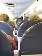 row of seats in a commercial airplane.