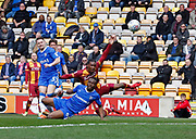 Dominic Poleon of Bradford City shoots during the EFL Sky Bet League 1 match between Bradford City and Gillingham at the Northern Commercials Stadium, Bradford, England on 24 March 2018. Picture by Paul Thompson.