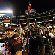 10 September 2016: The San Diego State Aztecs football team hosts Cal in their second game of the season.  San Diego State Alumni Akbar Gbaja-Biamila is the honorary warrior for the game against Cal. The Aztecs lead 31-21 at halftime.