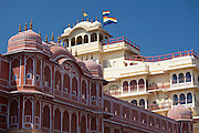 Zenana Deorhi harem at The Maharaja of Jaipur's Moon Palace flag shows Maharaja in residence, in Jaipur, Rajasthan, India