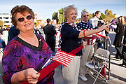 14 JANUARY 2012 - CHANDLER, AZ:    People cheer for new US citizens at a naturalization ceremony in Chandler, AZ, Jan. 14. More than 140 people from 21 countries were naturalized as United States citizens Saturday in Chandler. This is the third year Chandler has sponsored a naturalization ceremony in connection with the Dr. Martin Luther King holiday.     PHOTO BY JACK KURTZ