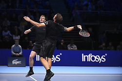 November 17, 2017 - London, England, United Kingdom - Jamie Murray (L) of Great Britain and Bruno Soares of Brazil in action in the Doubles match against Lukasz Kubot of Poland and Marcelo Melo of Brazil during day six of the Nitto ATP World Tour Finals at O2 Arena on November 17, 2017 in London, England. (Credit Image: © Alberto Pezzali/NurPhoto via ZUMA Press)