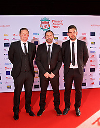 LIVERPOOL, ENGLAND - Thursday, May 10, 2018: Liverpool's head of development analysis Tim Jenkins, U18s goalkeeping coach Neil Edwards and U18s performance analyst Scott Mason arrive on the red carpet for the Liverpool FC Players' Awards 2018 at Anfield. (Pic by David Rawcliffe/Propaganda)