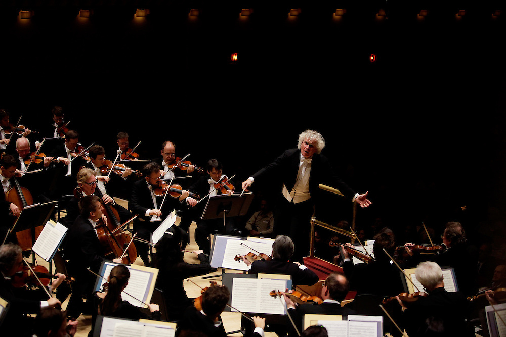 The Berliner Philharmoniker performs its third and final pairing of Brahms with Schoenberg, in a concert with Music Director and Conductor Sir Simon Rattle at Carnegie Hall on November 13, 2009 in New York city. photo by Joe Kohen for The New York Times