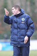 James Marrs shouts his orders during the Women's FA Cup match between Watford Ladies FC and Brighton Ladies at the Broadwater Stadium, Berkhampstead, United Kingdom on 1 February 2015. Photo by Stuart Butcher.