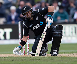 New Zealand's Ross Taylor grimaces after injuring his hamstring batting against England in the fourth one day cricket international at the University of Otago Oval, Dunedin, New Zealand, Wednesday, March 7, 2018. Credit:SNPA / Adam Binns ** NO ARCHIVING**