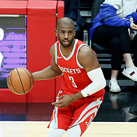 28 February 2018: Houston Rockets guard Chris Paul (3) drives during the Houston Rockets 105-92 victory over the LA Clippers, at the Staples Center, Los Angeles, California, USA.