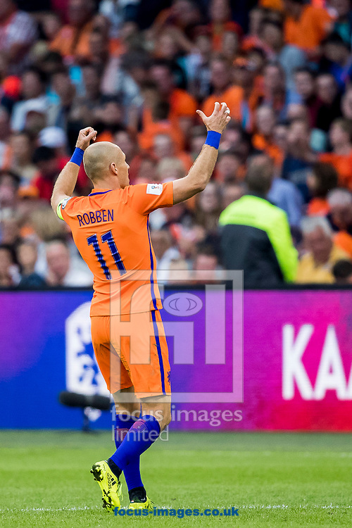Arjen Robben of Netherlands has scored 2-0 during the 2018 FIFA World Cup Qualifying match at Amsterdam Arena, Amsterdam<br /> Picture by Joep Joseph Leenen/Focus Images Ltd +316 5261929<br /> 03/09/2017<br /> ***NETHERLANDS OUT***