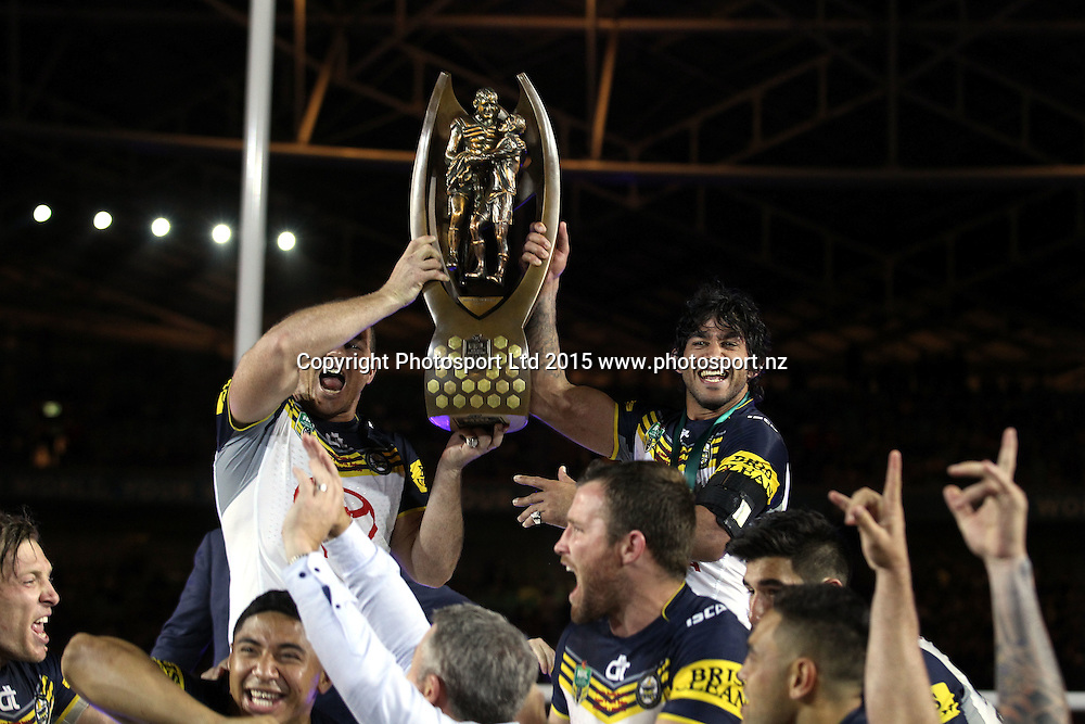 Matthew Scott and Johnathan Thurston co captains with the trophy<br /> Broncos v Cowboys NRL Grand Final rugby league match at ANZ Stadium, Homebush Australia. Sunday 4 October 2015. Photo: Paul Seiser/Photosport.nz