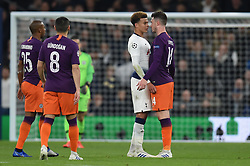09.04.2019, White Hart Lane, London, ENG, UEFA CL, Tottenham Hotspur vs Manchester City, Viertelfinale, Hinspiel, im Bild Dele Alli of Tottenham Hotspur and Aymeric Laporte of Manchester City square up // Dele Alli of Tottenham Hotspur and Aymeric Laporte of Manchester City square up during the UEFA Champions League quarterfinals, 1st leg match between Tottenham Hotspur and Manchester City at the White Hart Lane in London, England on 2019/04/09. EXPA Pictures © 2019, PhotoCredit: EXPA/ Focus Images/ Martyn Haworth<br /> <br /> *****ATTENTION - for AUT, GER, FRA, ITA, SUI, POL, CRO, SLO only*****
