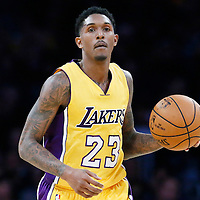 05 December 2016: Los Angeles Lakers guard Louis Williams (23) brings the ball up court during the Utah Jazz 107-101 victory over the Los Angeles Lakers, at the Staples Center, Los Angeles, California, USA.