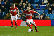 Middlesbrough midfielder Adam Clayton (8)  during the EFL Sky Bet Championship match between Sheffield Wednesday and Middlesbrough at Hillsborough, Sheffield, England on 19 October 2018.