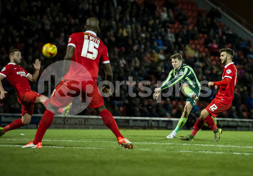 Jake Reeves of Wimbledon takes a shot at goal during the Sky Bet League 2 match between Leyton Orient and AFC Wimbledon at the Matchroom Stadium, London, England on 28 November 2015. Photo by Salvio Calabrese.