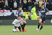 Derby County midfielder Harry Wilson (7) is fouled during the EFL Sky Bet Championship match between Derby County and Leeds United at the Pride Park, Derby, England on 11 May 2019.