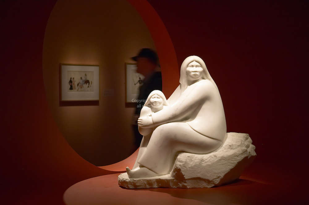 Stone sculpture titled &quot;A Safe Return&quot; by Allan Houser at the Smithsonian American Indian Museum, Washington DC USA<br />