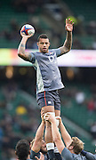 """Twickenham, United Kingdom.  Courtney LAWES """"lifted"""" by left Chris ROBSHAW and Right Joe LAUNCHBURY, pre game trainig session,   Old Mutual Wealth Series: England vs South Africa, at the RFU Stadium, Twickenham, England, Saturday, 12.11.2016<br /> <br /> [Mandatory Credit; Peter Spurrier/Intersport-images]"""