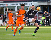 August 9th 2017, Dens Park, Dundee, Scotland; Scottish League Cup Second Round; Dundee versus Dundee United; Dundee's Marcus Haber and Dundee United's Mark Durnan