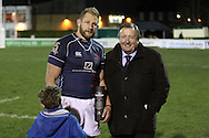 Captain Mark Bright collects the Man of the Match award during the Green King IPA Championship match between London Scottish &amp; Worcester at Richmond, Greater London on 20th December 2014<br /> <br /> Photo: Ken Sparks | UK Sports Pics Ltd<br /> London Scottish v Worcester, Green King IPA Championship, 20th December 2014<br /> <br /> &copy; UK Sports Pics Ltd. FA Accredited. Football League Licence No:  FL14/15/P5700.Football Conference Licence No: PCONF 051/14 Tel +44(0)7968 045353. email ken@uksportspics.co.uk, 7 Leslie Park Road, East Croydon, Surrey CR0 6TN. Credit UK Sports Pics Ltd