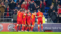 CARDIFF, WALES - Tuesday, November 19, 2019: Wales' Aaron Ramsey celebrates scoring the first goal with teammates during the final UEFA Euro 2020 Qualifying Group E match between Wales and Hungary at the Cardiff City Stadium. (Pic by Laura Malkin/Propaganda)