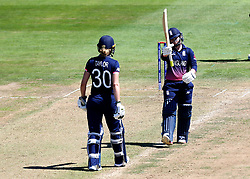 Tammy Beaumont of England Women raises her bat in celebration of reaching 50 - Mandatory by-line: Robbie Stephenson/JMP - 05/07/2017 - CRICKET - County Ground - Bristol, United Kingdom - England Women v South Africa Women - ICC Women's World Cup Group Stage