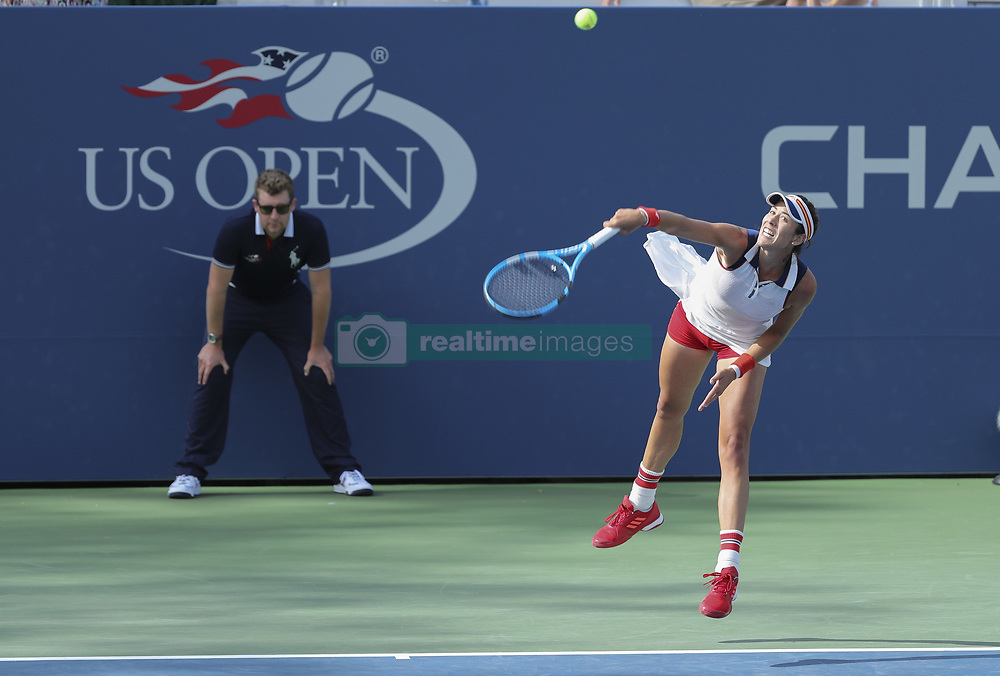 NEW YORK, Sept. 2, 2017  Garbine Muguruza of Spain serves during the women's singles third round match against Magdalena Rybarikova of Slovakia at the 2017 US Open in New York, the United States, Sept. 1, 2017. Muguruza won 2-0. (Credit Image: © Wang Ying/Xinhua via ZUMA Wire)