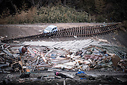 A section of the Sanriku Railway line lies torn from its sleepers near Miyako, Iwate Prefecture, Japan on 03 April 2011.  Photographer: Robert Gilhooly