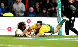 Marland Yarde of England scores a try - Mandatory by-line: Robbie Stephenson/JMP - 03/12/2016 - RUGBY - Twickenham - London, England - England v Australia - Old Mutual Wealth Series