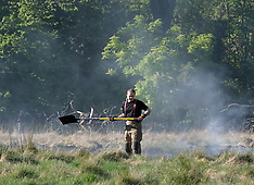 Firefighters extinguish a wild fire, Mid Calder, 6 May 2020