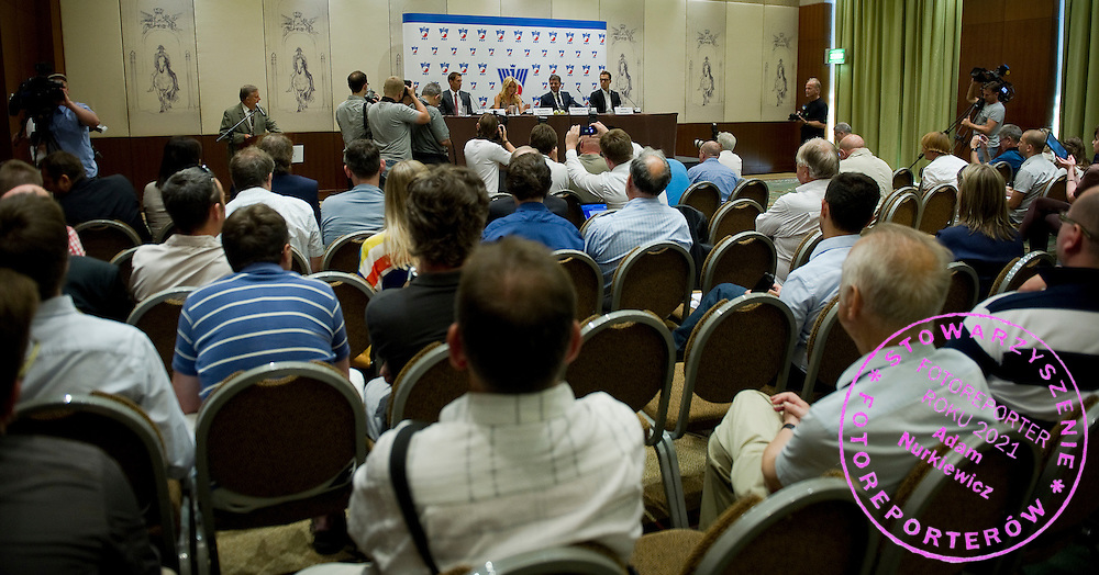(L-R) Lukasz Kubot and Agnieszka Radwanska and Krzysztof Suski - President of Polish Tennis Association and Jerzy Janowicz during press conference of Polish Tennis Association at Hyatt Hotel in Warsaw, Poland.<br /> <br /> Poland, Warsaw, July 08, 2013<br /> <br /> Picture also available in RAW (NEF) or TIFF format on special request.<br /> <br /> For editorial use only. Any commercial or promotional use requires permission.<br /> <br /> Photo by &copy; Adam Nurkiewicz / Mediasport