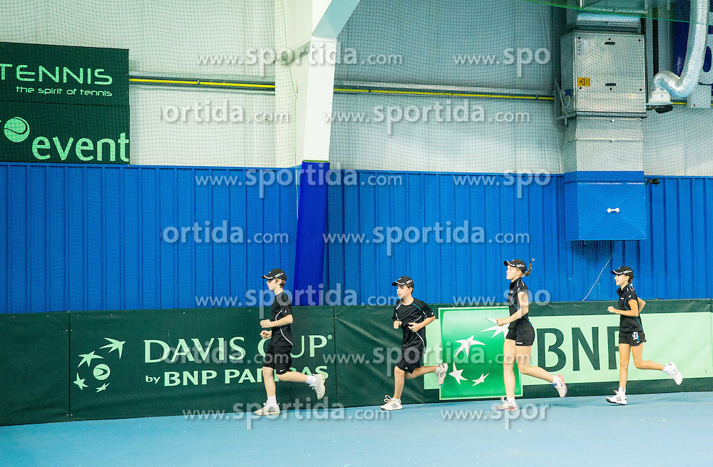 Ball boys during Davis Cup Slovenia vs Lithuania competition, on October 30, 2015 in Kranj, Slovenia. Photo by Vid Ponikvar / Sportida