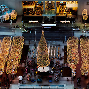 Aerial photo of the Mayor's Christmas Tree and decorations at Crown Center, Kansas City, Missouri. December 2015.