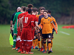 WOLVERHAMPTON, ENGLAND - Tuesday, December 19, 2017: Wolverhampton Wanderer's captain Dan McKenna shakes hands with Liverpool players before an Under-18 FA Premier League match between Wolverhampton Wanderers and Liverpool FC at the Sir Jack Hayward Training Ground. (Pic by David Rawcliffe/Propaganda)