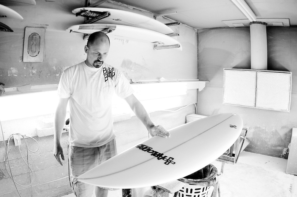 Stefan Aftanas of Aftanas Surf Designs in his board shaping workshop in Tofino.  Hand-crafting every surfboard, Aftanas has gained a reputation as one of the top designers in the Pacific Northwest.