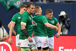 November 3, 2018 - Chicago, IL, U.S. - CHICAGO, IL - NOVEMBER 03: Jordan Larmour (15) of Ireland celebrates with teammates after scoring a try in action during the Rugby Weekend game between Ireland ad Italy on November 3, 2018 at Soldier Field in Chicago, Ilinois. (Photo by Robin Alam/Icon Sportswire) (Credit Image: © Robin Alam/Icon SMI via ZUMA Press)