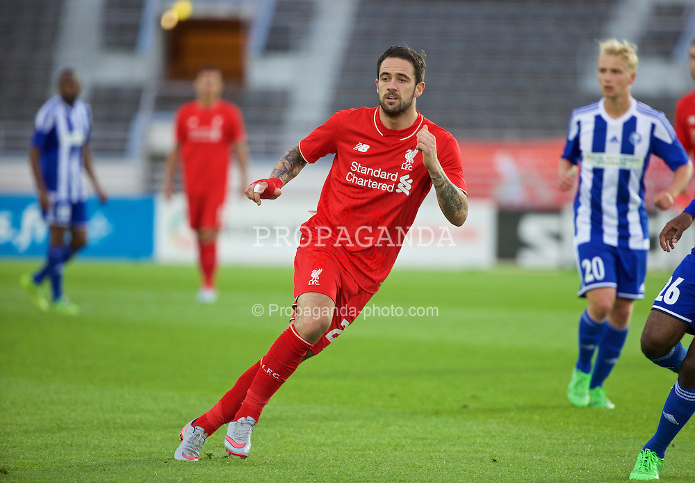 HELSINKI, FINLAND - Friday, July 31, 2015: Liverpool's Danny Ings in action against HJK Helsinki during a friendly match at the Olympic Stadium. (Pic by David Rawcliffe/Propaganda)