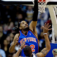 10 March 2007:   New York Knicks forward Renaldo Balkman (32) tries for a block on a shot in the first half against Washington Wizards guard Antonio Daniels (6) at the Verizon Center in Washington, D.C.  The Knicks defeated the Wizards 90-89.