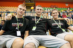 Edo Muric of Slovenia, Gezim Morina of Slovenia and Jaka Lakovic of Slovenia  during friendly match between National teams of Slovenia and Latvia for Eurobasket 2013 on August 2, 2013 in Arena Zlatorog, Celje, Slovenia. (Photo by Vid Ponikvar / Sportida.com)