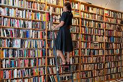 Customer on steps looking at books inside St Georges secondhand bookshop in Prenzlauer berg, Berlin, Germany